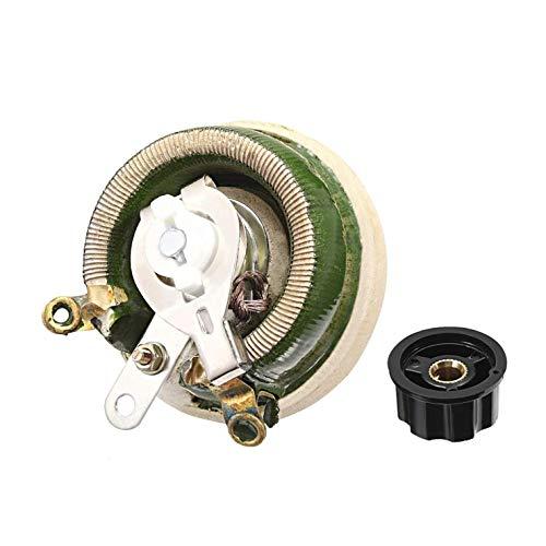 SALAKA 50 Ohm 50 W Hochleistungs-Widerstandsmessgeräte Keramisches Drahtpotentiometer mit Drehknopf Rheostat Variabler Widerstand