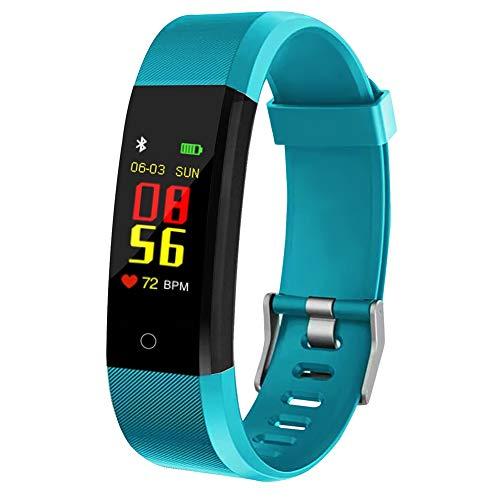 Fitness-Uhr für Kinder, Frauen, Männer, Aktivitäts-Tracker mit Schrittzähler Kalorienzähler Schlafmonitor, Anruf- / SMS-Erinnerung, Fitness-Tracker für Android iOS (Green)