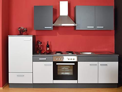 expendio Küchenblock Grace 270 cm mit E-Geräten komplett hellgrau Graphit Küchenzeile Einbauküche Komplett-Küche