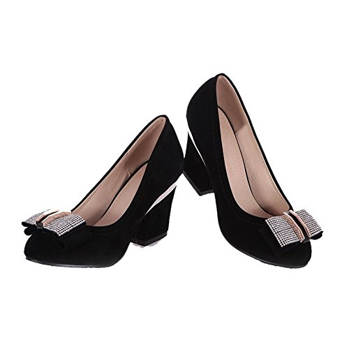 VogueZone009 Femme Suédé Mosaïque Tire Rond à Talon Haut Chaussures Légeres Noir