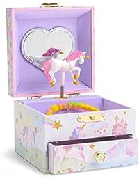 Jewelkeeper - Caja Joyero Musical con Unicornio Arco Iris y Estrellas de Lentejuelas, Equipado de un Cajón Extraíble - Melodía The Unicorn