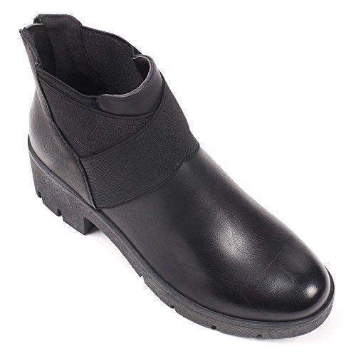 Ideal Shoes–Scarponcini in similpelle stile Chelsea con elastici priscaline Nero