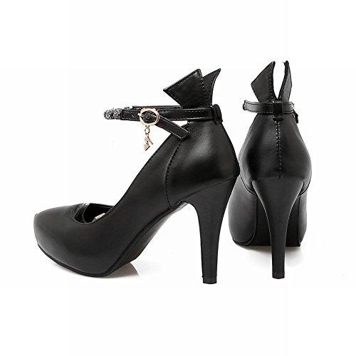 Mee Shoes Damen Ankle strap high heels Schnalle Pumps Schwarz