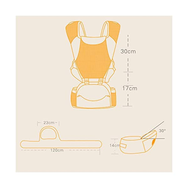 LITIAN Four Seasons Universal Baby Carrier Waist Stool Front Hug Multifunctional Baby Seat Summer Breathable light grey  ★ Double-layer high-elastic mesh design, cool and breathable, breathable strap. ★ Protect the bones from stress. Stressed on the shoulders, waist, abdomen, three points of balanced force, prevent Mommy spine strain, easy and labor-saving. ★ Enclosed soft skin-friendly bib, avoid rubbing the baby's chin and neck, reducing harmful bacteria. 2