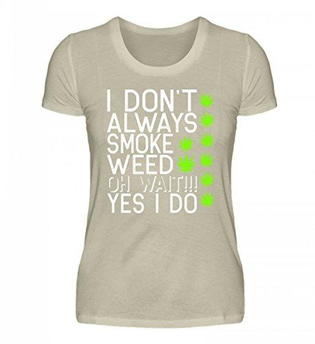 Shirtee Hochwertiges Damen Organic Cannabis Weed Meme THC CBD Marihuana Beige