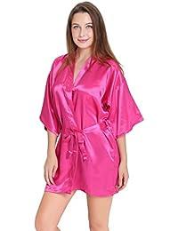 Aibrou Damen Satin Morgenmantel Kimono Bademantel Schlafanzug Kurz Nachthemd Nachtwäsche Unterwäsche V Ausschnitt mit Gürtel