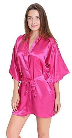 Aibrou peignoir long satin pyjama femme sexy ensemble chemise de nuit peignoir nuisette kimono japonais déshabillé vetement cadeau pour la fête mariage (Rouge, S )