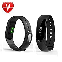 Fitness Tracker With Heart Rate Monitor, Bluetooth Smart Wristband Bracelet Sport Pedometer Activity Tracker With Step Trackercalorie Countersleep Tracker For Iphone Ios & Android Phone