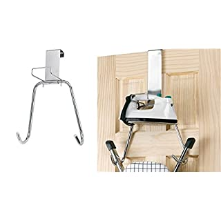 AQS International  Chrome Over the Door Iron and Board Holder Organizer Laundry Storage New