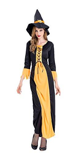 Honeystore Damen Hexe Kleid Halloween Mit Hut Party Lang Spitze Kostüm Weihnachten Kleidung Gelb (Hut Captain Morgan)