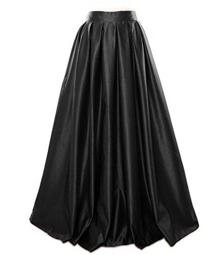 MACloth Women Long Satin Prom Party Formal Evening Dress Skirt Black