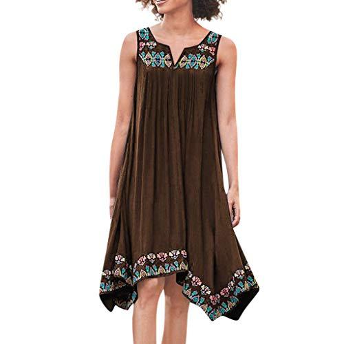 VEMOW Vestido Verano Estampado Floral sin Mangas Cuello