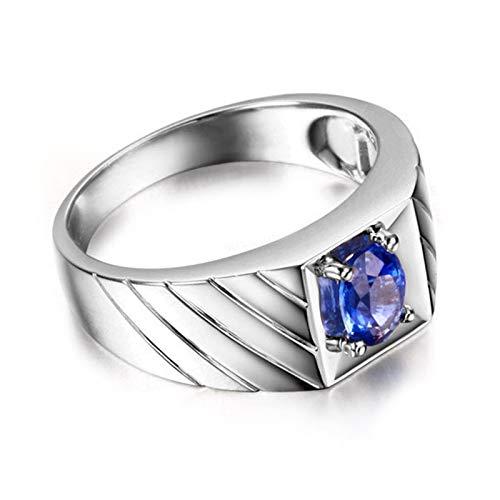 Uomo donna blu zaffiro naturale anniversario matrimonio anello genuino 925 sterling argento misura 25