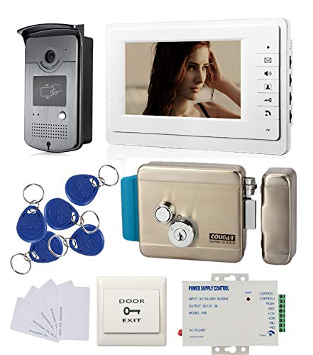 7'' LCD Video Doorbell Intercom System Kit 1 Monitor 1 Outdoor Camera & Electric Control Lock 110-240V Power Unit +RFID Keyfods/Cards Video Control Unit