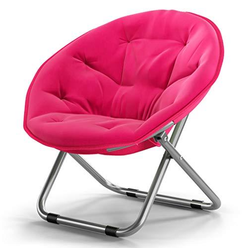 Klappstühle Sofa Stuhl Moon Stuhl Sun Chair Faule Stuhl Radar Stuhl Recliner Rückseite weichen Stoff, breite und stabile Design (Farbe : Pink) -