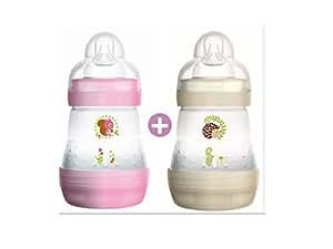 MAM Biberon Anti-Coliche, 160 ml, 0-6 Mesi, Flusso Tettarella 1, 2 pezzi, rosa e bianco