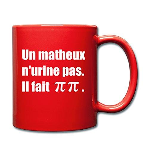 Spreadshirt Mathématiques Pi Blague Mug uni, rouge