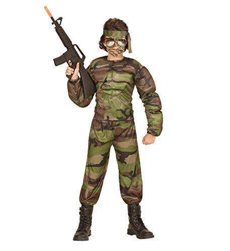 Kinder Camouflage Soldaten Muskel Kostüm in 158 11-13 Jahre Halloween (Halloween Soldat Kostüme)