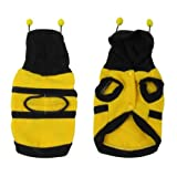 DealMux Winter Yellow Black Hoodie Bee Design Pet Doggie Dog Coat Sweater Size XS
