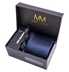Idea Regalo - Massi Morino ® Uomo Designer Cravatta - Box Set con fazzoletto, Gemelli e Fermacravatta X cucita a mano in microfibra in colori assortiti - confezione regalo (Blu scuro)
