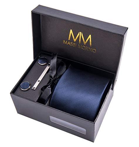 Herren Designer Krawatte - Box Set mit Einstecktuch, Manschettenknöpfe und Krawattennadel, handgenäht aus Mikrofaser Kunstseide in verschiedene Farben, inkl. Geschenkbox (Dunkelblau Unifarbe)