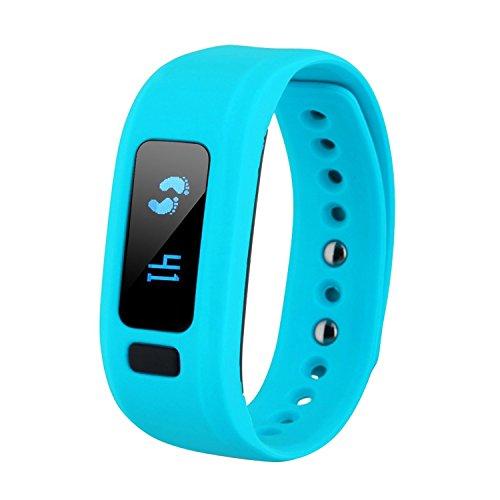 COOSA Fitness Armband Schrittzähler Aktivitätstracker Schlaftracker Kalorienzähler Pedometer Call / SMS Erinnerung Sport Smartwatch Fitness Tracker für IOS iPhone und Android Smartphone (Blau)