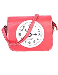 Trendy Cross-Body Fine PU Leather Red Clock Print Sling Bag For Women & Girls By Bagris GE01001270