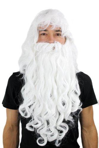 Wig me up, PW0187-P60(A250), Peluca con barba estilo Papá Noel, hechicero, Dumbledore