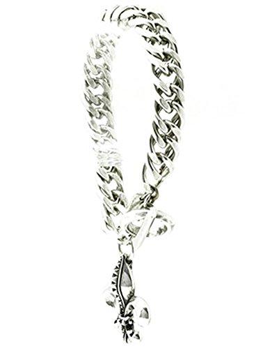 beyoutifulthings Damen Edelstahl silber Armband Starke Ketten mit Anhänger FLEUR DE LIS Länge: ()