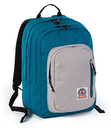 ZAINO INVICTA - FLIP - Blue Grigio - tasca porta pc e Tablet padded - scuola e tempo libero americano 28 LT
