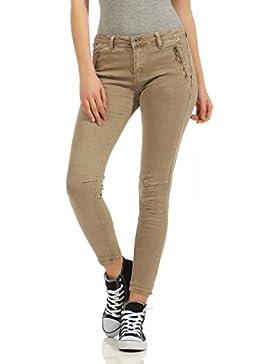 ZARMEXX Pantalones chinos de mezclilla de mezclilla para mujeres Pantalones pitillo de mujer Slimline Hipsters...
