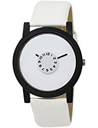 Snapcrowd Attractive Stylish Sport Look White Dial Stylish White Leather Strap Analog Watch For Men & Boys