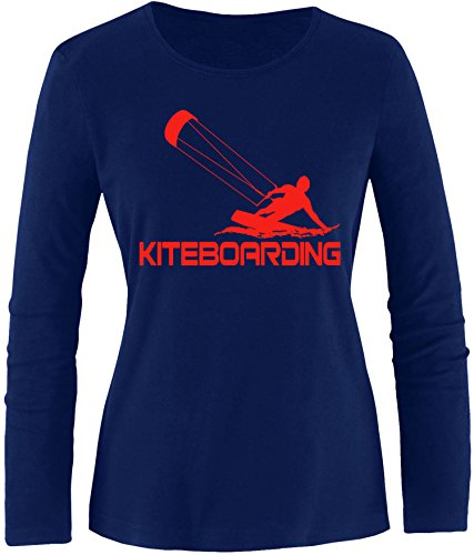 EZYshirt® Kiteboarding Damen Longsleeve Navy/Rot