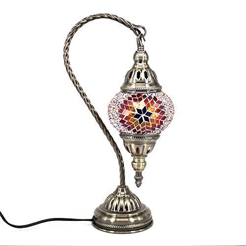 Marokkanische Lampe Mosaik Glaslampe Vintage für Schlafzimmer Nachttischlampe Elegant Swan Neck/Bronze Basis (Braun) - Mosaik-tisch-lampe
