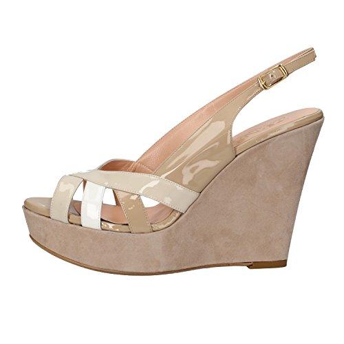 ZENA 40 EU sandali zeppe beige vernice camoscio AF760