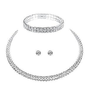 mecresh Schmuck-Set für Damen, 1/2/3/4/5-reihig, Strasssteine, 1 Ohrringe, Halskette und Armband