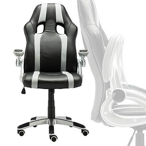 Froadp Gaming Stuhl Racing Bürostuhl PU Kunstleder Ergonomischer - Bürodrehstuhl mit klappbaren Armlehnen Höhenverstellbar, Schwarz-Grau