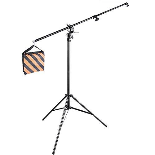 neewerr-10ft-305cm-two-way-rotable-aluminum-adjustable-tripod-boom-light-stand-with-sandbag-for-stud