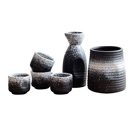 Kimmyer Japanisches Sake Wine Set-Keramik-Weißwein-Antikelwein-Weinkeller Weinkeller Pots für den Hausgebrauch-Gratis-Wein-Stopper 5 Stück Set