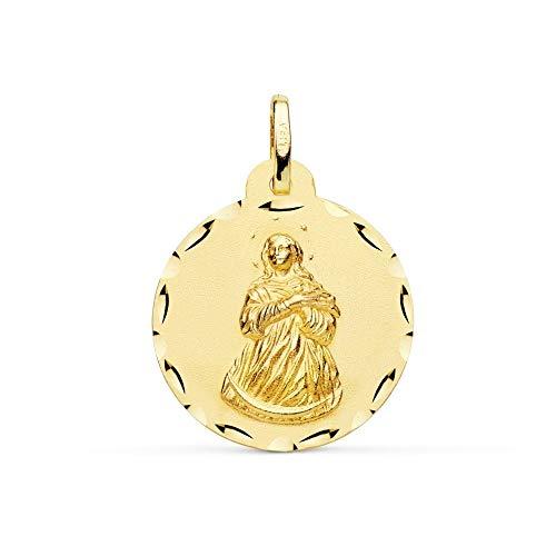 Medalla Oro 18K Virgen Inmaculada 22mm. Borde Tallado - Personalizable - Grabación Incluida En El Precio