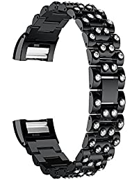 premium di lusso in acciaio solido bracciale cinturini da polso sostituzione dei metalli per Fitbit Charge 2 nero