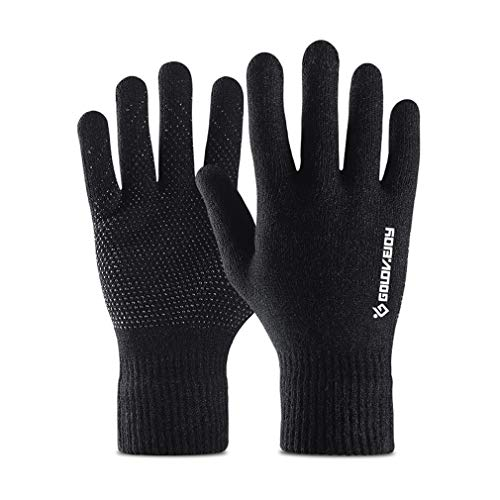 Thermal Knitted Winter Gloves Men Women Thick Warm Windproof Touchscreen Sport Gloves Outdoor Full Finger Gloves for Dress Driving Motorcycle Running Cycling Skiing Hiking Hunting Climbing Camping -