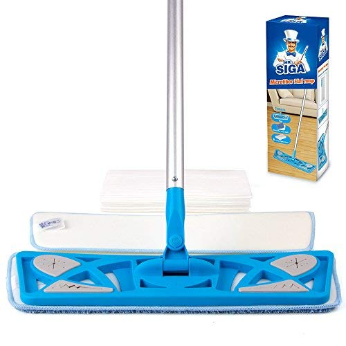 MR. SIGA Microfiber Flat Mop (Included 2 Microfiber Refills and 6 Dry Cloths) - Pad Size 43 x 21cm -