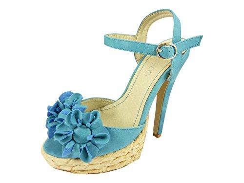 Sandales à plateforme paille et talons hauts Bleu