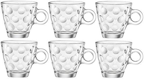 Bormioli Rocco 1316210Dots Taza para Espresso, Cristal sin Plato, 10Cl, Paquete de 6
