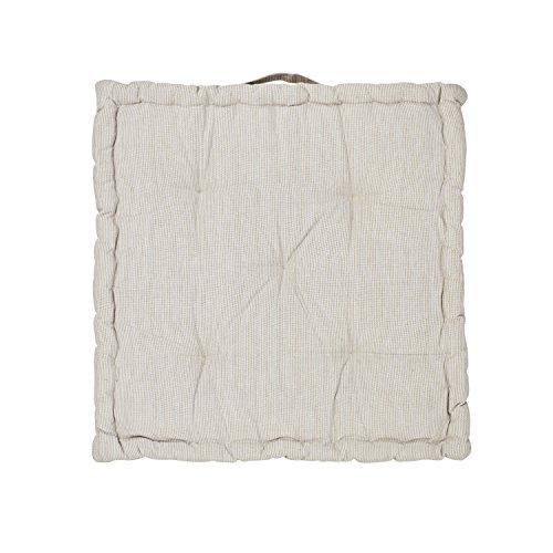 Nava à rayures Coton Coussins de boîte, Coton, sable beige, 50 cm x 50 cm