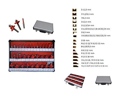 Frese pantografo/fresatrice verticale/Punte lavorazione legno set 35 pezzi in valigetta gambo 8mm vasto assortimento di misure