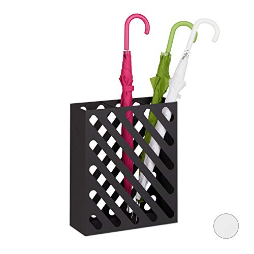 Relaxdays, nero portaombrelli xl, supporto rettangolare per ombrelli e bastoni, acciaio, portatile, 15cm, 48 x 40 x 15 cm