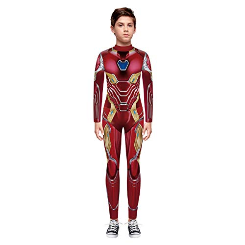 Leezeshaw Unisex Mädchen Jungen Superhelden-Kostüm Kids 3D Spider Iron Man Print Langarm Skinny Catsuit Halloween Cosplay Jumpsuit Unitard Bodysuit