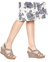 622c65685cf1 Good for the Sole Womens Grey Suedette  Mod Cross  Wedge Heel Wide Fit  Sandals